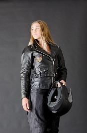 Lady Chopper V2 med snöring och bälte skinnjacka 009878