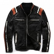 ATA Conman Black HD leather MC skinnjacka Svart   345001