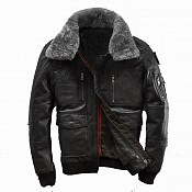 VULCANO BOMBER LEATHER BLACK WINTER SKINNJACKA