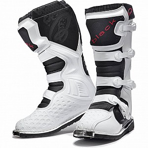 BLACK MX Enigma White Motocross Boots (CE Level 2 Certified) 5225 cross stövlar