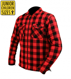JUNIOR / KID KEVLAR FLANELL ZIPPER ORIGINAL RED LEVEL 2 PROTECTOR CE PROTECTORS MC SKJORTA    JFS-762