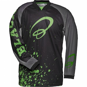 Black MX Splat Motocross Jersey Green 0709 crosströja