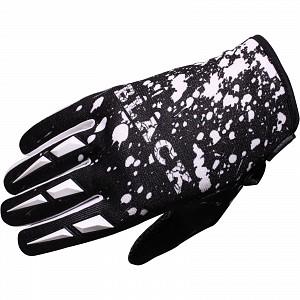 Black Splat Motocross Gloves White 1006 crosshandskar