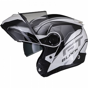 Black Optimus II Infinity Flip Front Gloss Black White 53091503 Öppningsbar mc hjälm