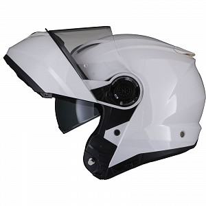 Black Optimus II Flip Front Gloss White 53072503 Öppningsbar mc hjälm