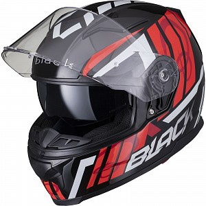 BLACK APEX TRIPLE Motorcycle Helmet RED SOLVISIR 53062503 MC HJÄLM