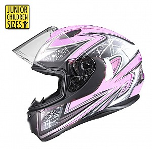 SA03 Junior Pink Shiny MC Hjälm