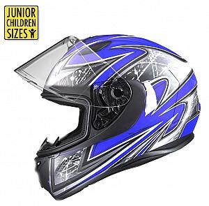 SA03 Junior Blue Shiny MC Hjälm