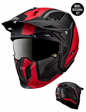 MT STREETFIGHTER SV TWIN C5 REDBLACK MATT MC / CROSS HJÄLM