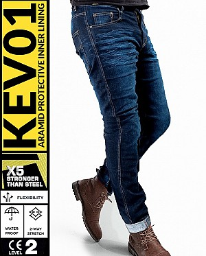 KEV01 CRUISER V2 WP CLASSIC DENIM BOBBER MEKEVLAREN MC JEANS