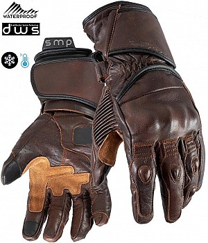 DUAL WEATHER TOURMAX BROWN VINTAGE WATERPROOF MC HANDSKAR