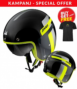 AXXIS OF507SV HORNET SV OLDSTYLE B3 FLUOR YELLOW  Jet mc hjälm + Tshirt Axxis Black